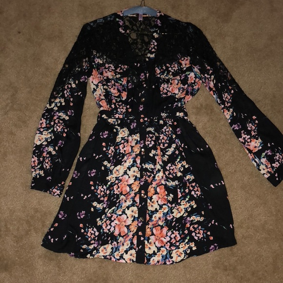 Xtaren Dresses Black Floral And Lace Long Sleeve Dress Poshmark